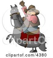 Cowboy Riding A Bucking BroncoHorse