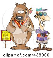 Royalty Free RF Clip Art Illustration Of A Cartoon Male Tourist Feeding A Cookie To A Bear For A Photo Op