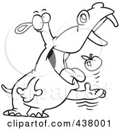 Royalty Free RF Clip Art Illustration Of A Black And White Outline Design Of A Hippo Tossing An Apple Into His Mouth