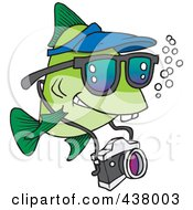 Royalty Free RF Clip Art Illustration Of A Cartoon Fish Tourist Swimming With A Camera by toonaday