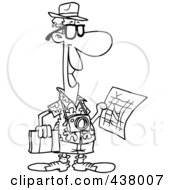 Royalty Free RF Clip Art Illustration Of A Cartoon Black And White Outline Design Of A Male Tourist Holding A Map And Sight Seeing Book