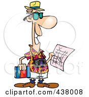 Royalty Free RF Clip Art Illustration Of A Cartoon Male Tourist Holding A Map And Sight Seeing Book