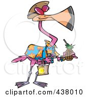 Royalty Free RF Clip Art Illustration Of A Cartoon Tourist Flamingo Carrying A Tropical Beverage by toonaday