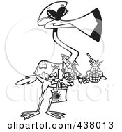 Royalty Free RF Clip Art Illustration Of A Cartoon Black And White Outline Design Of A Tourist Flamingo Carrying A Tropical Beverage by toonaday