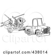 Royalty Free RF Clip Art Illustration Of A Cartoon Black And White Outline Design Of A Truck Pulling A Trailer With Landscape And Concrete Equipment by toonaday