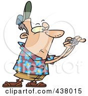 Royalty Free RF Clip Art Illustration Of A Cartoon Male Tourist Holding His Camera Out by toonaday