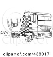 Royalty Free RF Clip Art Illustration Of A Cartoon Black And White Outline Design Of A Fast Tow Truck by toonaday