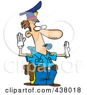 Cartoon Police Officer Controlling Traffic
