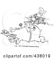 Royalty Free RF Clip Art Illustration Of A Black And White Outline Design Of A Tough Rodeo Cowboy Riding A Bear by toonaday