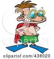 Royalty Free RF Clip Art Illustration Of A Cartoon Super Swim Boy Wearing Flippers And A Towel Cape