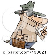 Royalty Free RF Clip Art Illustration Of A Spy Carrying Top Secret Information