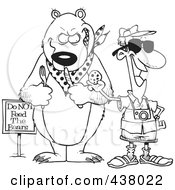 Royalty Free RF Clip Art Illustration Of A Cartoon Black And White Outline Design Of A Male Tourist Feeding A Cookie To A Bear For A Photo Op
