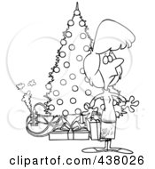 Royalty Free RF Clip Art Illustration Of A Cartoon Black And White Outline Design Of A Woman Standing By A Christmas Tree With An Overloaded An Electrical Socket