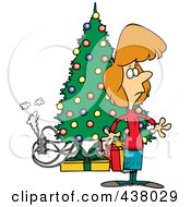Royalty Free RF Clip Art Illustration Of A Cartoon Woman Standing By A Christmas Tree With An Overloaded An Electrical Socket