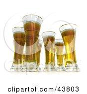 Clipart Illustration Of 3d Tall Glasses Of Golden Beer