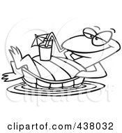 Royalty Free RF Clip Art Illustration Of A Cartoon Black And White Outline Design Of A Relaxed Turtle Floating With A Beverage On His Belly