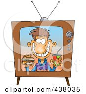 Royalty Free RF Clip Art Illustration Of A Cartoon Man Appearing On A Fast Food Television Commercial by toonaday