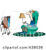 Cartoon Man Sitting In A Chair And Watching Tv