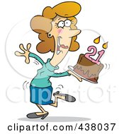 Royalty Free RF Clip Art Illustration Of A Cartoon Happy Woman Carrying A Birthday Cake With 21 Candles