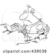 Royalty Free RF Clip Art Illustration Of A Cartoon Black And White Outline Design Of A Tyrant Boss Holding A Chair And Whip