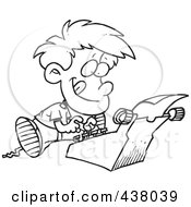 Royalty Free RF Clip Art Illustration Of A Cartoon Black And White Outline Design Of A Boy Typing A Story On A Typewriter