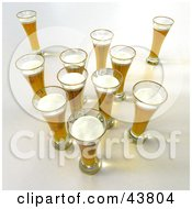 Clipart Illustration Of A Group Of 3d Beer In Glasses
