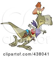 Royalty Free RF Clip Art Illustration Of A Cartoon Cowboy Tyrannosaurus Rex by toonaday