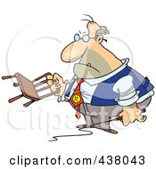 Royalty Free RF Clip Art Illustration Of A Cartoon Tyrant Boss Holding A Chair And Whip