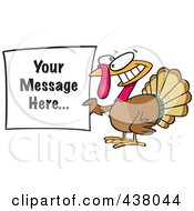 Royalty Free RF Clip Art Illustration Of A Cartoon Turkey Bird Holding A Sign With Sample Text by toonaday