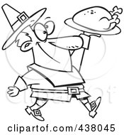 Royalty Free RF Clip Art Illustration Of A Cartoon Black And White Outline Design Of A Pilgrim Man Carrying A Roasted Turkey