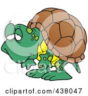 Royalty Free RF Clip Art Illustration Of A Cartoon Tired Old Tortoise by toonaday