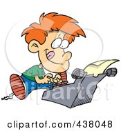 Royalty Free RF Clip Art Illustration Of A Cartoon Boy Typing A Story On A Typewriter by Ron Leishman
