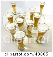 Clipart Illustration Of 3d Pints Of Beer
