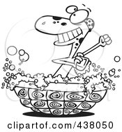 Royalty Free RF Clip Art Illustration Of A Cartoon Black And White Outline Design Of A Turtle Bathing In His Shell by toonaday