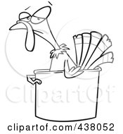 Royalty Free RF Clip Art Illustration Of A Cartoon Black And White Outline Design Of A Turkey Bird In A Pot