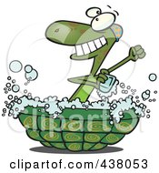 Royalty Free RF Clip Art Illustration Of A Cartoon Turtle Bathing In His Shell by Ron Leishman