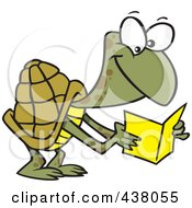 Royalty Free RF Clip Art Illustration Of A Cartoon Tortoise Reading A Greeting Card by toonaday