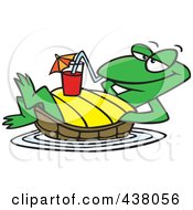 Royalty Free RF Clip Art Illustration Of A Cartoon Relaxed Turtle Floating With A Beverage On His Belly by toonaday