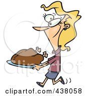Royalty Free RF Clip Art Illustration Of A Cartoon Woman Carrying A Roasted Turkey by toonaday