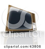 Clipart Illustration Of An Old Wood Paneled Box TV