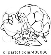 Royalty Free RF Clip Art Illustration Of A Cartoon Black And White Outline Design Of A Tired Old Tortoise