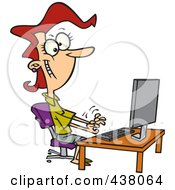 Cartoon Female Typist Working On A Computer