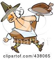 Cartoon Pilgrim Man Carrying A Roasted Turkey