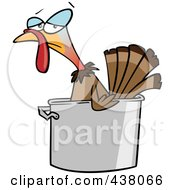 Royalty Free RF Clip Art Illustration Of A Cartoon Turkey Bird In A Pot by toonaday