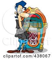 Royalty Free RF Clip Art Illustration Of A Cartoon Greaser By A Juke Box