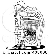 Royalty Free RF Clip Art Illustration Of A Cartoon Black And White Outline Design Of A Greaser By A Juke Box by toonaday