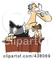 Royalty Free RF Clip Art Illustration Of A Cartoon Judge Leaning Over His Desk by toonaday