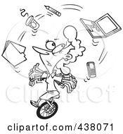Royalty Free RF Clip Art Illustration Of A Cartoon Black And White Outline Design Of A Businesswoman Juggling Office Items On A Unicycle by toonaday