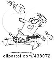 Royalty Free RF Clip Art Illustration Of A Cartoon Black And White Outline Design Of A Businessman Playing Football