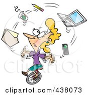 Cartoon Businesswoman Juggling Office Items On A Unicycle